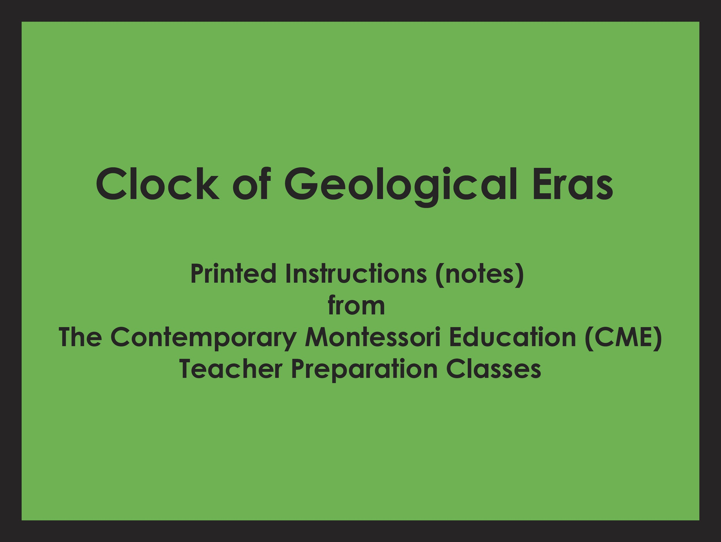 Clock of Geological Eras (CME notes) ● HIST-CME-H200