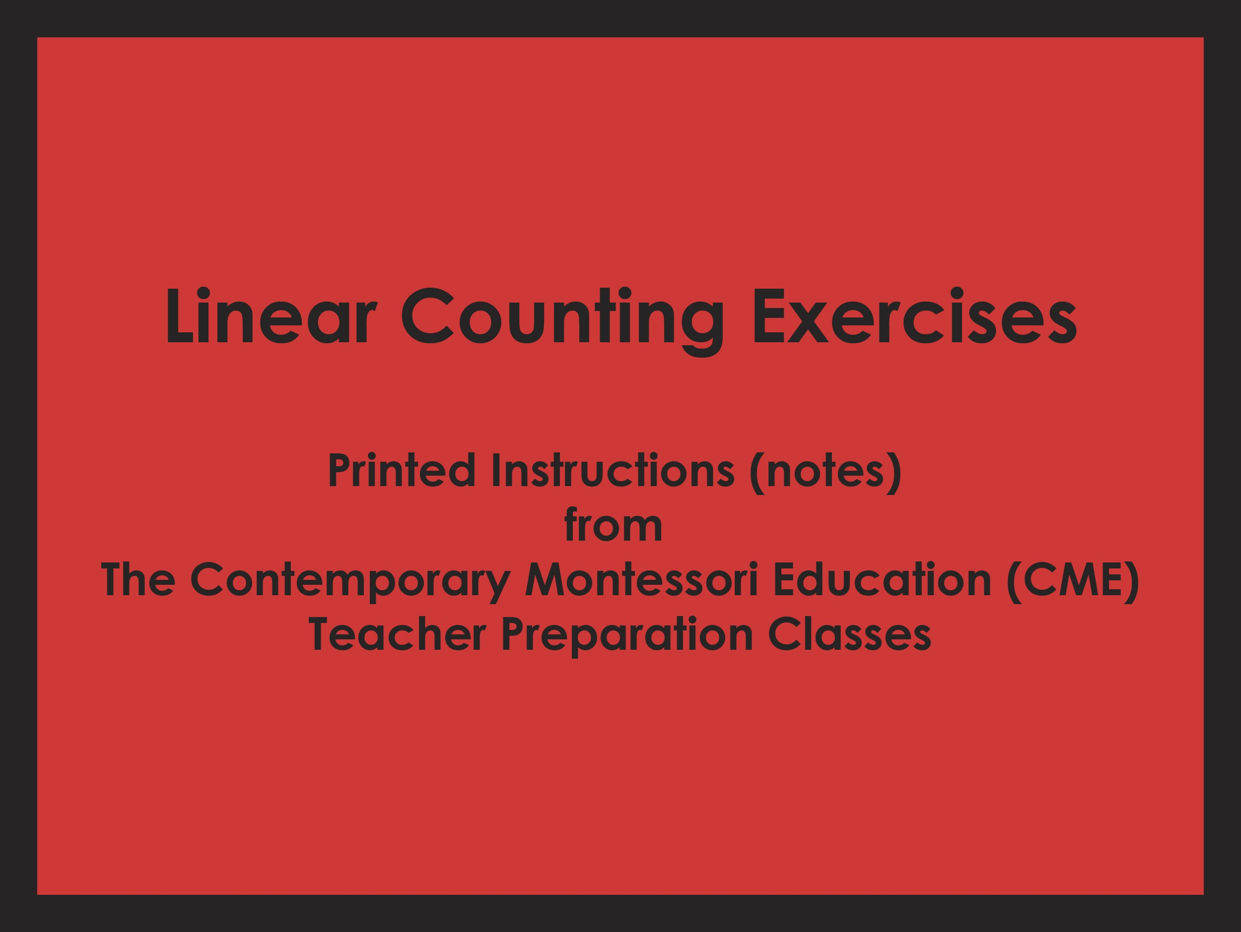 Linear Counting Exercises (CME notes) ○ MATH-CME-108
