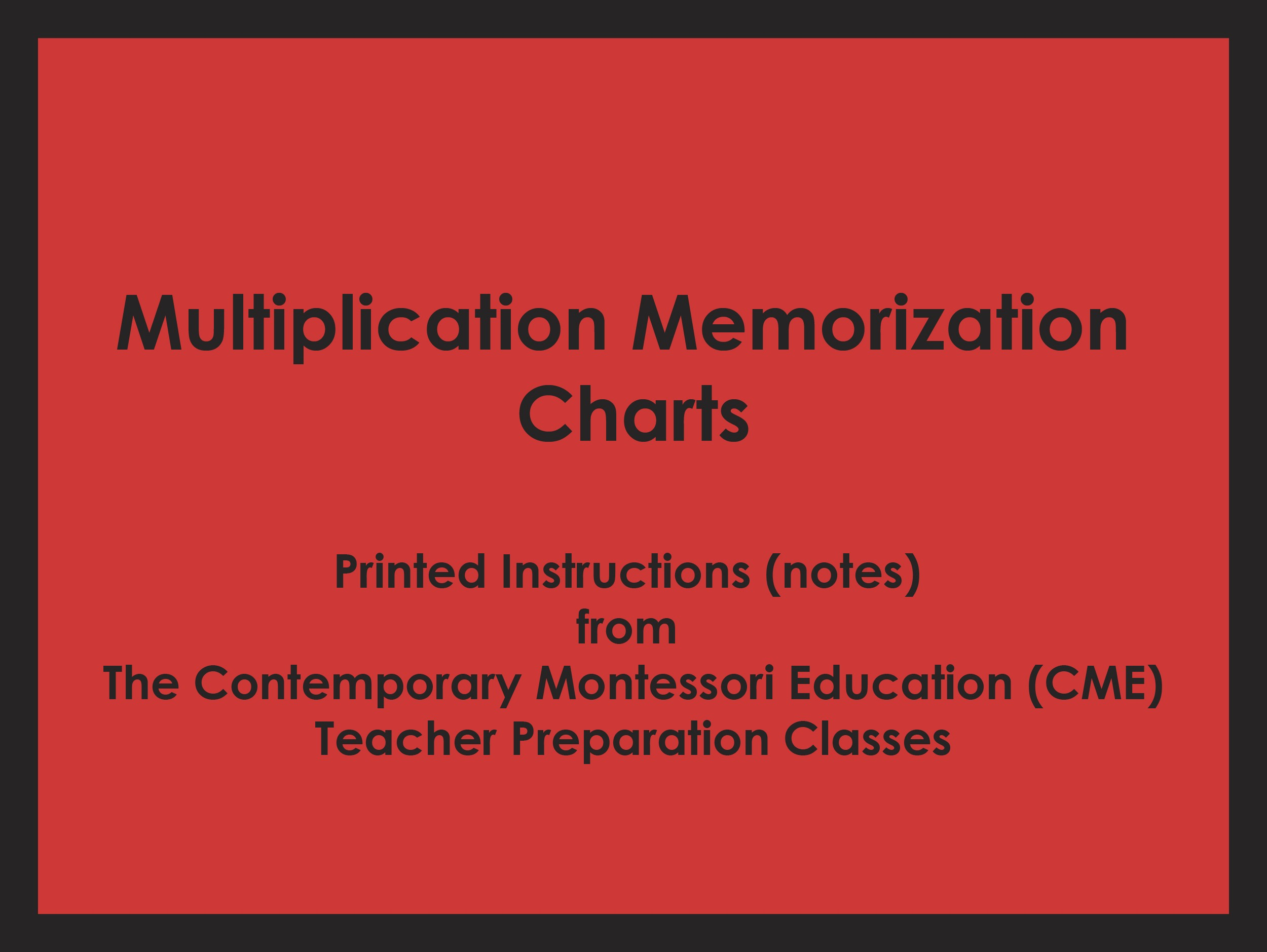 Multiplication Memorization Charts (CME notes) ● MATH-CME-124