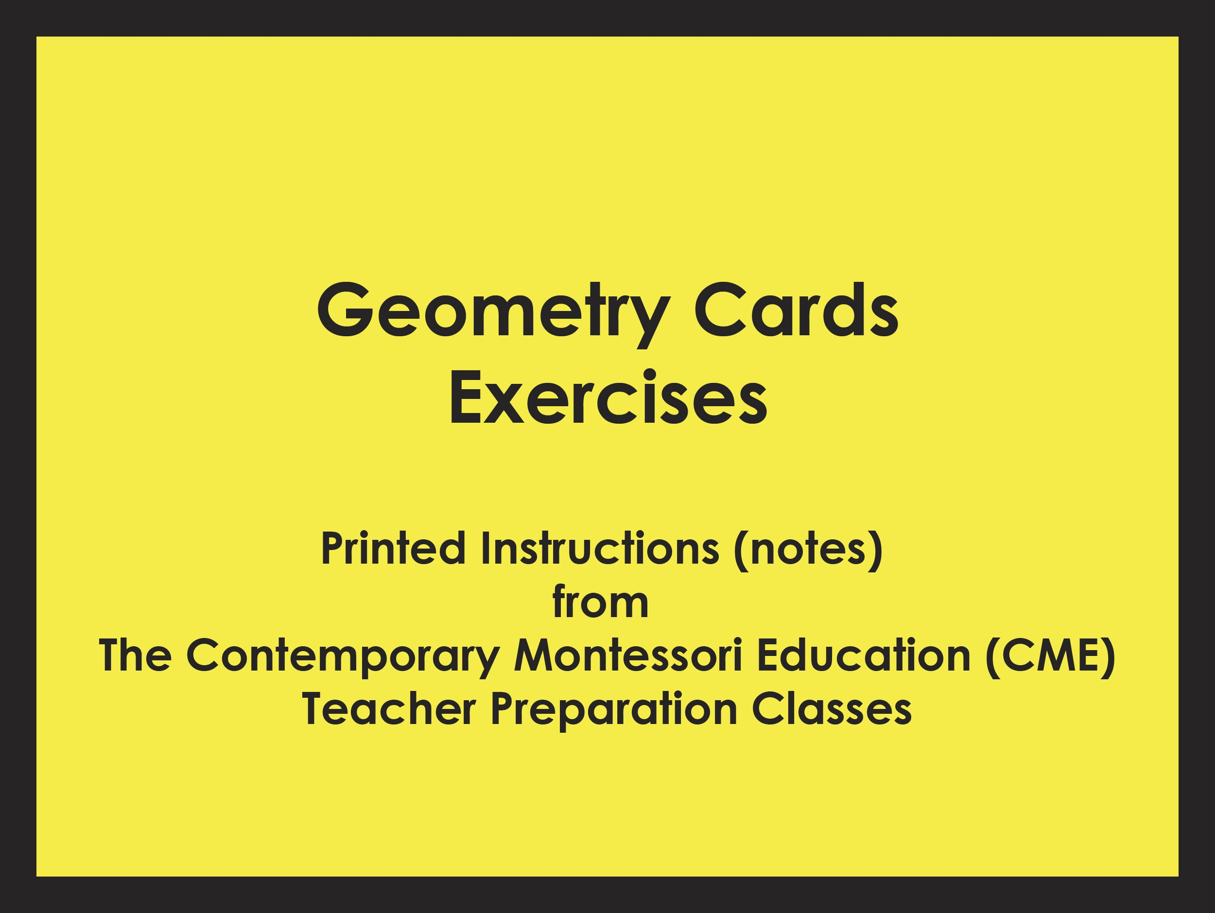 Geometry Cards Exercises (CME notes) ● SENS-CME-029