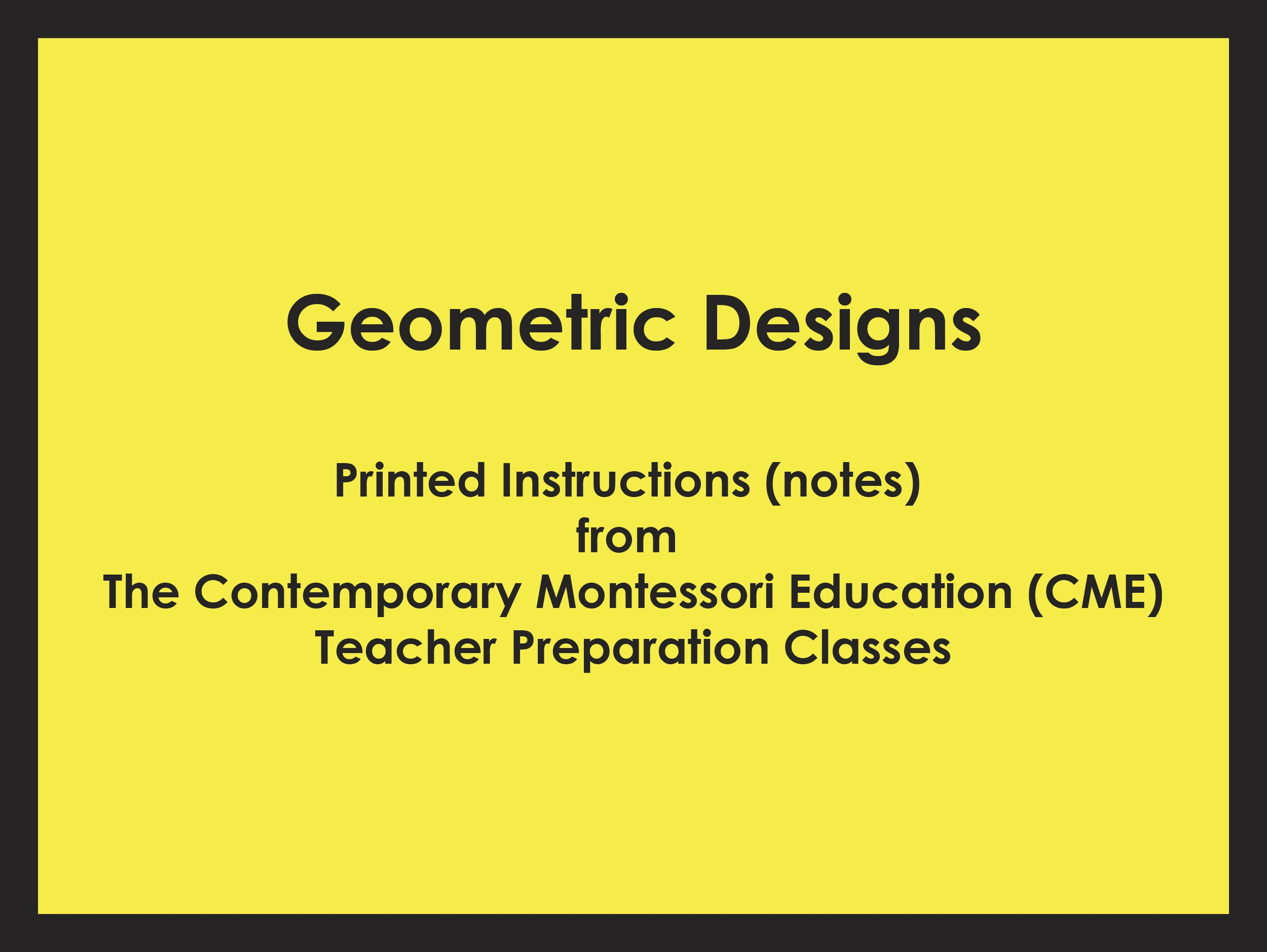 Geometric Designs (CME notes) ● SENS-CME-039