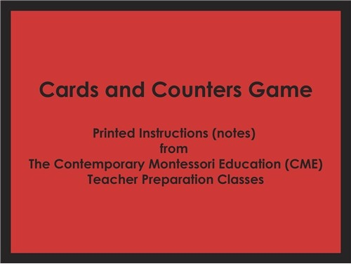 Cards and Counters Game (CME notes) ● MATH-CME-086