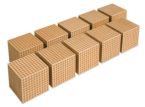 Wooden Thousand Cubes - Set of 10/007510    NH-096   ■SOLD OUT■QUOTE REQUIRED■