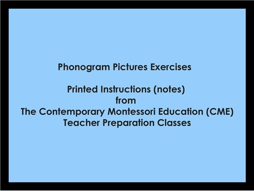 Phonogram Pictures Exercises (CME notes) ● LANG-CME-S-104-110