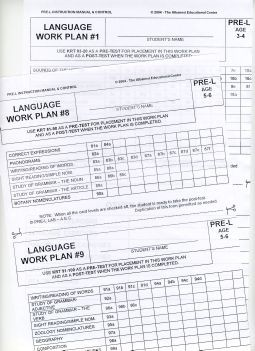 Language Work Plans for Ages 3-6 ● PRE-L Work Plans     ● NO LONGER AVAILABLE IN HARD-COPY ●