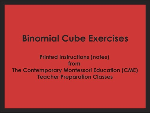 Binomial Cube Exercises (CME notes) ● SENS-CME-042