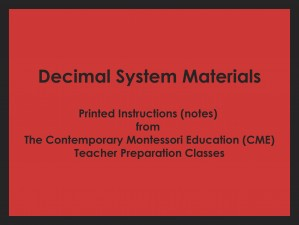 Decimal System Materials (CME notes) ● MATH-CME-092
