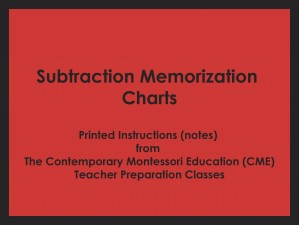 Subtraction Memorization Charts (CME notes) ● MATH-CME-121