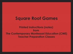 Square Root Games (CME notes) ● MATH-CME-155