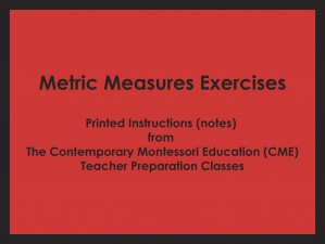Metric Measures Exercises (CME notes) ● MATH-CME-150