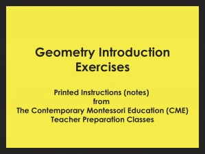 Geometry Introduction Exercises (CME notes) ● SENS-CME-028