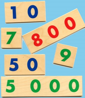 Large Wooden Numerals 1-9000/1 Set with Box      GZ-097.1     ♣AVAILABLE (qty 2)♣