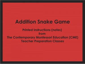 CME Notes for the Addition Snake Game ● MATH-CME-114